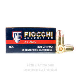 Image For 500 Rounds Of 230 Grain FMJ Boxer Brass 45 Auto Fiocchi Ammunition