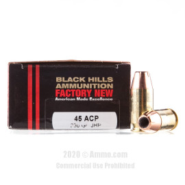Image For 20 Rounds Of 230 Grain JHP Boxer Brass 45 Auto Black Hills Ammunition Ammunition