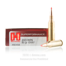 Image For 20 Rounds Of 80 Grain GMX Boxer Brass 243 Win Hornady Ammunition