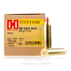 Image For 20 Rounds Of 200 Grain JHP Boxer Brass 460 S&W Hornady Ammunition