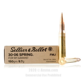 Image For 20 Rounds Of 150 Grain FMJ Boxer Brass 30-06 Sellier and Bellot Ammunition