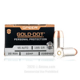 Image For 20 Rounds Of 185 Grain JHP Boxer Nickel-Plated Brass 45 Auto Speer Ammunition