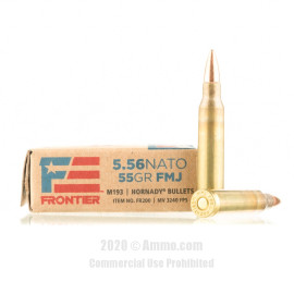 Image For 20 Rounds Of 55 Grain FMJ Boxer Brass 5.56x45 Hornady Ammunition