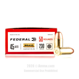 Image For 1000 Rounds Of 230 Grain FMJ Boxer Brass 45 Auto Federal Ammunition