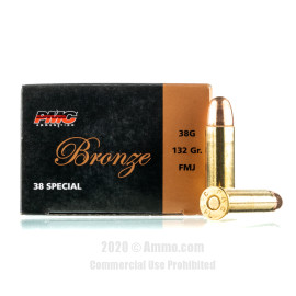 Image For 50 Rounds Of 132 Grain FMJ Boxer Brass 38 Special PMC Ammunition