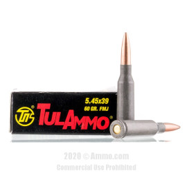 Image For 20 Rounds Of 60 Grain FMJ Berdan Steel 5.45x39 TulAmmo Ammunition