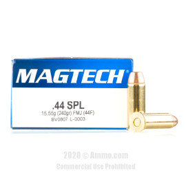Image For 50 Rounds Of 240 Grain FMJ Boxer Brass 44 S&W Special Magtech Ammunition