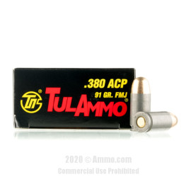 Image For 1000 Rounds Of 91 Grain FMJ Berdan Steel 380 ACP TulAmmo Ammunition