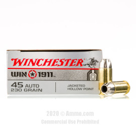 Image For 50 Rounds Of 230 Grain JHP Boxer Nickel-Plated Brass 45 Auto Winchester Ammunition