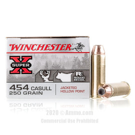 Image For 20 Rounds Of 250 Grain JHP Boxer Brass 454 Casull Winchester Ammunition