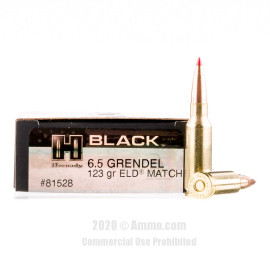 Image For 20 Rounds Of 123 Grain ELD Match Boxer Brass 6.5 Grendel Hornady Ammunition