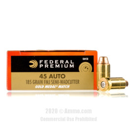 Image For 1000 Rounds Of 185 Grain Semi-Wadcutter Boxer Brass 45 Auto Federal Ammunition