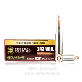 Image For 20 Rounds Of 95 Grain Nosler Ballistic Tip Boxer Brass 243 Win Federal Ammunition