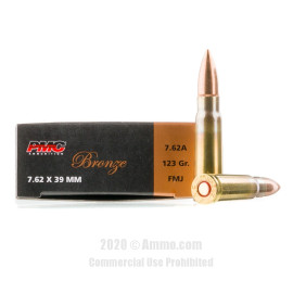 Image For 500 Rounds Of 123 Grain FMJ Boxer Brass 7.62x39 PMC Ammunition