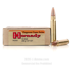 Image For 20 Rounds Of 286 Grain SP Boxer Brass 9.3x62mm Hornady Ammunition