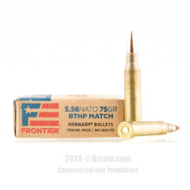 Image For 500 Rounds Of 75 Grain HPBT Boxer Brass 5.56x45 Hornady Ammunition