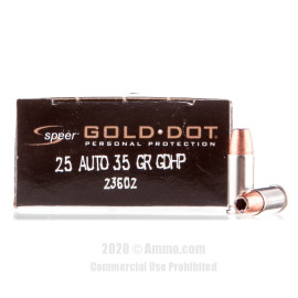 Image For 20 Rounds Of 35 Grain JHP Boxer Brass 25 ACP Speer Ammunition