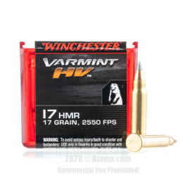 Image For 50 Rounds Of 17 Grain V-MAX Rimfire Brass 17 HMR Winchester Ammunition