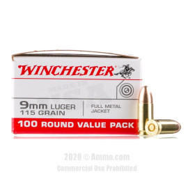 Image For 100 Rounds Of 115 Grain FMJ Boxer Brass 9mm Winchester Ammunition