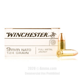 Image For 50 Rounds Of 124 Grain FMJ Boxer Brass 9mm Winchester Ammunition