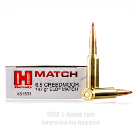 Image For 20 Rounds Of 147 Grain ELD Match Boxer Brass 6.5 Creedmoor Hornady Ammunition