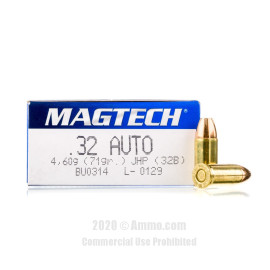 Image For 50 Rounds Of 71 Grain JHP Boxer Brass 32 ACP Magtech Ammunition