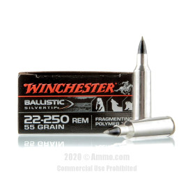 Image For 20 Rounds Of 55 Grain Polymer Tipped Boxer Brass 22-250 Rem Winchester Ammunition