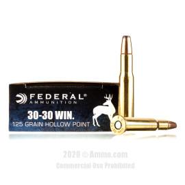 Image For 20 Rounds Of 125 Grain JHP Boxer Brass 30-30 Federal Ammunition