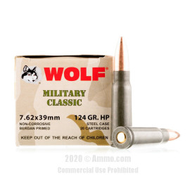 Image For 20 Rounds Of 124 Grain HP Berdan Steel 7.62x39 Wolf Ammunition