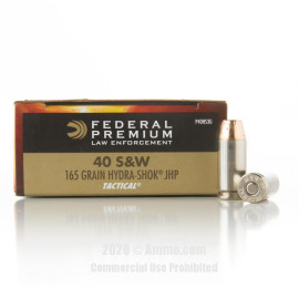 Image For 50 Rounds Of 165 Grain JHP Boxer Nickel-Plated Brass 40 Cal Federal Ammunition