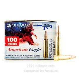 Image For 500 Rounds Of 55 Grain FMJ Boxer Brass 223 Rem Federal Ammunition