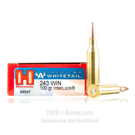 Image For 20 Rounds Of 100 Grain SP Boxer Brass 243 Win Hornady Ammunition
