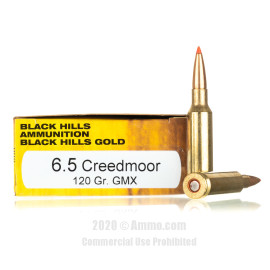Image For 20 Rounds Of 120 Grain GMX Boxer Brass 6.5 Creedmoor Black Hills Ammunition Ammunition