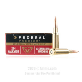 Image For 20 Rounds Of 90 Grain HPBT Boxer Brass 224 Valkyrie Federal Ammunition
