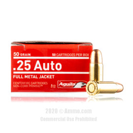 Image For 50 Rounds Of 50 Grain FMJ Boxer Brass 25 ACP Aguila Ammunition
