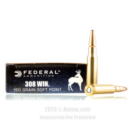 Image For 200 Rounds Of 150 Grain SP Boxer Brass 308 Win Federal Ammunition