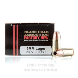 Image For 20 Rounds Of 115 Grain JHP Boxer Brass 9mm Black Hills Ammunition Ammunition