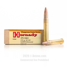Image For 20 Rounds Of 270 Grain Spire Point Boxer Brass 375 H&H Magnum Hornady Ammunition
