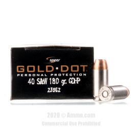 Image For 20 Rounds Of 180 Grain JHP Boxer Nickel-Plated Brass 40 Cal Speer Ammunition