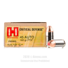 Image For 200 Rounds Of 185 Grain JHP Boxer Nickel-Plated Brass 45 Auto Hornady Ammunition
