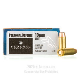 Image For 20 Rounds Of 180 Grain JHP Boxer Brass 10mm Federal Ammunition