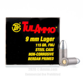 Image For 100 Rounds Of 115 Grain FMJ Berdan Steel 9mm TulAmmo Ammunition