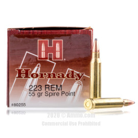 Image For 50 Rounds Of 55 Grain SP Boxer Brass 223 Rem Hornady Ammunition