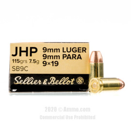 Image For 50 Rounds Of 115 Grain JHP Boxer Brass 9mm Sellier and Bellot Ammunition
