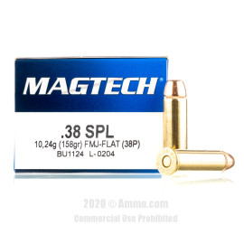 Image For 50 Rounds Of 158 Grain FMJ-FN Boxer Brass 38 Special Magtech Ammunition