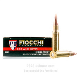 Image For 200 Rounds Of 150 Grain FMJ Boxer Brass 308 Win Fiocchi Ammunition