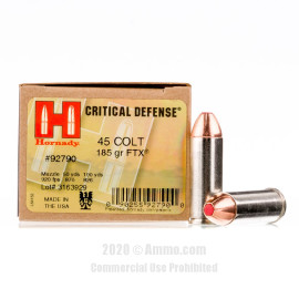 Image For 20 Rounds Of 185 Grain JHP Boxer Nickel-Plated Brass 45 Long Colt Hornady Ammunition