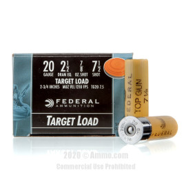 Image For 250 Rounds Of 7/8 oz. #7-1/2 Shot 20 Gauge Federal Ammunition