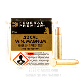 Image For 50 Rounds Of 30 Grain JHP Rimfire Brass 22 WMR Federal Ammunition
