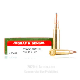 Image For 20 Rounds Of 165 Grain SPBT Boxer Brass 7.5x55 Swiss Hornady Ammunition